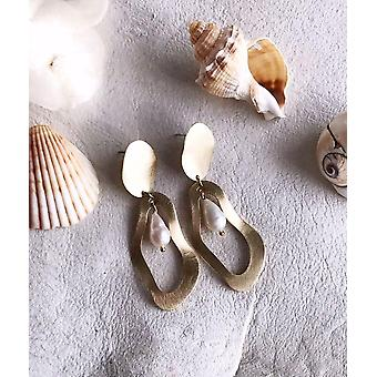 Pearl And Brass Earrings