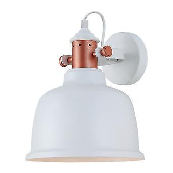 Przemysłowa i retro lampa ścienna Biały 1 Światło z białym, Miedziany odcień, E27