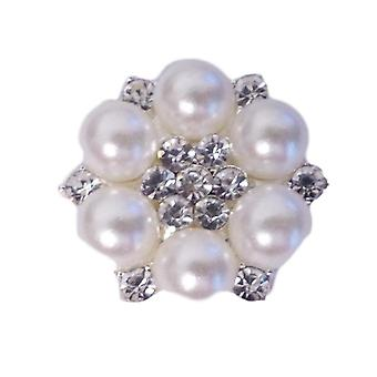 10 Ivory Pearl and Diamante Round Cluster Embellishments Grade A Rhinestones