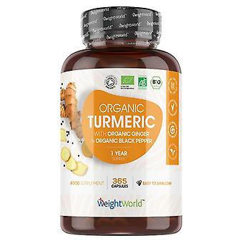 Turmeric Capsules 505mg. 365 Capsules (1 Year Supply) with Organic Turmeric, Black Pepper and Ginger - For Joints, Skin & Wellbeing