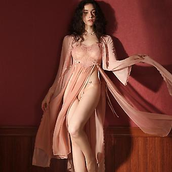 Sexy Private Pajamas Female Summer Lace Long Nightdress Robe And Gowns