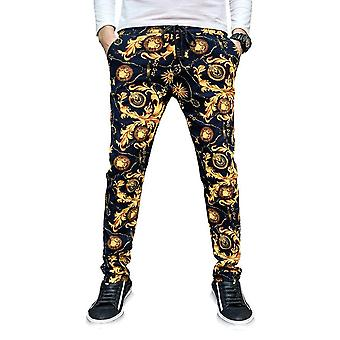 Men Casual Trousers Floral Slim Fitness Fashion Outwear Sportswear