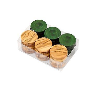Deluxe olijf hout Backgammon stenen natuurlijke & groene 36mm