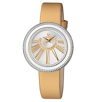 Gevril Women's Fifth Avenue Silver Dial Gold Satin Watch