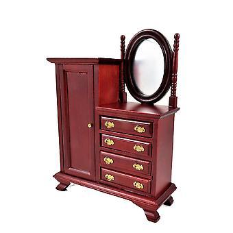 Dolls House Mahogany Yhdistelmä Vaatekaappi Miniatyyri 1:12 Makuuhuoneen huonekalut