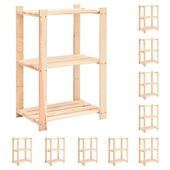vidaXL étagères de stockage 3 planchers 10pcs. 60x38x90cm bois massif pin 150kg