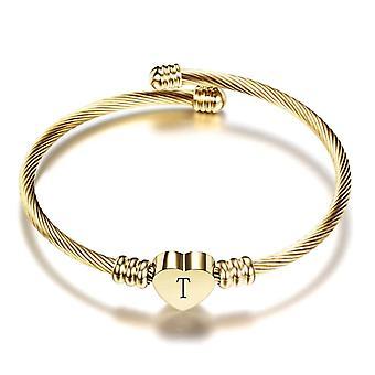 Bracelet en acier de bracelet de coeur avec la lettre