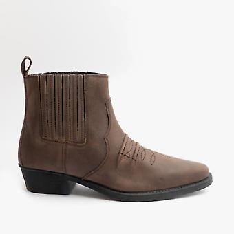 Woodland Nebraska Mens Crazy Horse Leather Western Boots Brown