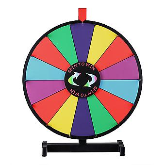 WinSpin 18-inch Round Tabletop Color Prize Wheel 14 Clicker Slots Editable Fortune Design Carnival Spin Game