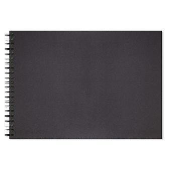 Artgecko schaduwrijke schetsboek (a3 landschap) - 80 pagina's (40 vellen) 200gsm zuur vrije zwarte kaart a3 land