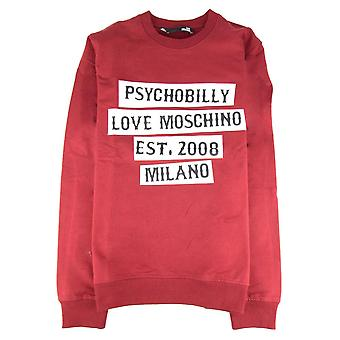 Love Moschino Psychobilly Logo Crewneck Sweatshirt Burgundy