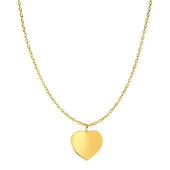 """14 k keltainen kulta korkea kiillotettu sydän kaulakoru, 16 """""""