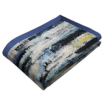 Aura navy blue printed velvet throws & runners