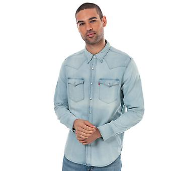 Men's Levis Barstow Western Shirt in Blue
