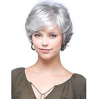 Brand Mall Wigs, Lace Wigs, Realistic Fluffy Short Hair Curly Hair Silver Personality Wig