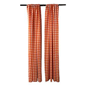 La Linen Pack 2  Polyester Gingham Checkered Backdrop, 58 By 96-Inch,Orange/White