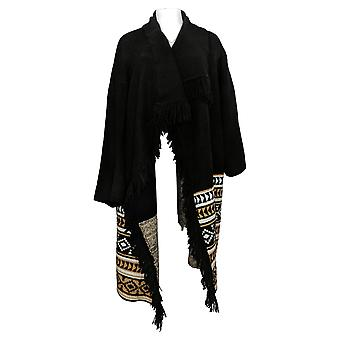 G.I.L.I. Women's Sweater Jacquard Blanket Cardigan Black A389042