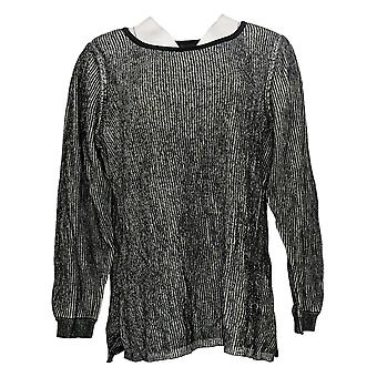 H par Halston Women's Sweater Plus Pullover w/ Sleeve Detail Black A343552