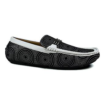 Men's Front Metal Target Loafers White