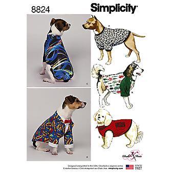 Yksinkertaisuus Ompelu kuvio 8824 Koiran lemmikkitakkeja Tarvikkeet Koko S-L