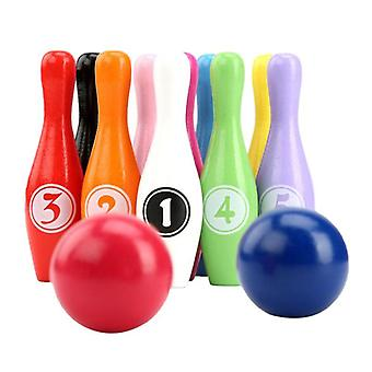 Wooden Color Bowling Set 10 Pins 2 Ball Bowling Game