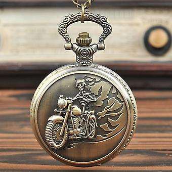 New Design Large Vintage Bronze Creative Motorcycle Retro Pocket Watch