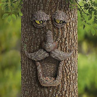 Bird Feeder Tree Face Decor Outdoorfun Old Man Tree Sculpture Yard