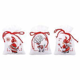 Vervaco عد عبر غرزة كيت: وعاء بوري حقيبة: عيد الميلاد الجان: مجموعة من 3