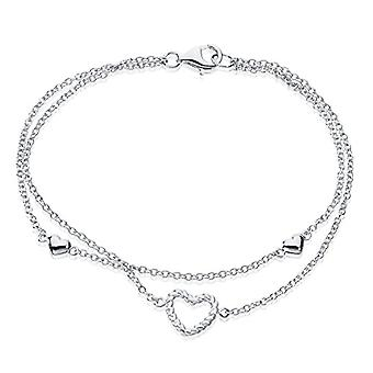 Eye Candy - Double sterling 925 rhodium-plated silver bracelet with hearts, 18.5 cm, ECJ-BR0111