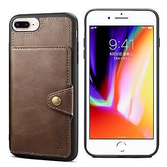 Étui de machine à sous pour carte portefeuille en cuir pour iphone7/8 kaki no1664