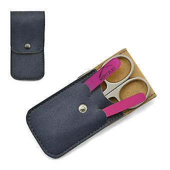 Mont Bleu 3-delige manicure set in zachte kunstleer koffer - roze