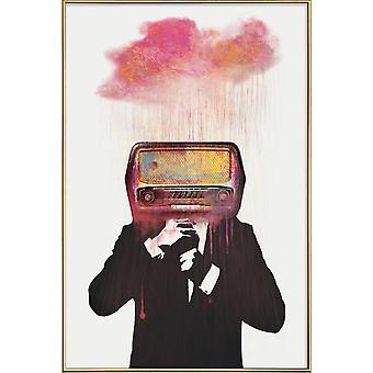 JUNIQE Print - Radiohead - Hame juliste kerma valkoinen & vaaleanpunainen