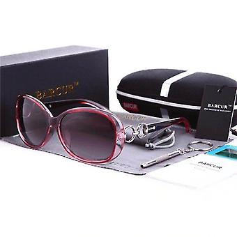Red oval oblong designer frame ladies sunglasses