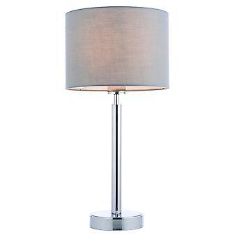 Lámpara de mesa placa cromada, sombra de tela gris con toma USB