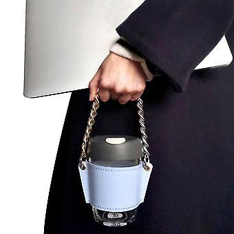 Étui en verre portable en cuir bleu en chaîne détachable emballage étui en cuir x1821