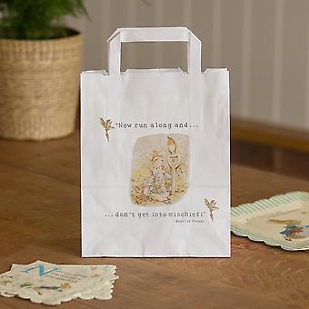 Sachets de Pierre lapin blanc avec poignées x 10 joyeux anniversaire / le cadeau met en sac