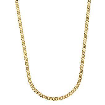 14k Yellow Gold Curb Links 4.2mm Hummer Claw Clasp Halsband Smycken Gåvor för kvinnor - Längd: 18 till 30