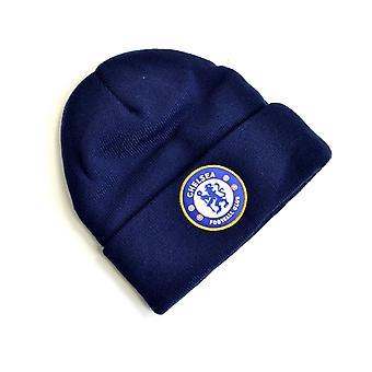 Chelsea stickad vapen vänd upp hatt marinblå