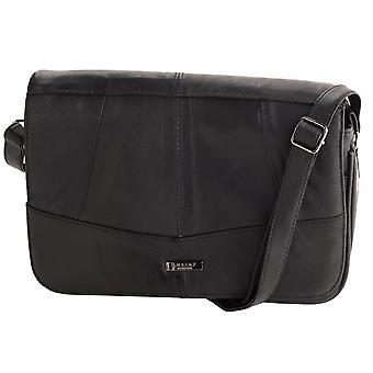 Damer Trippel Zipped Läder Cross Body Handväska