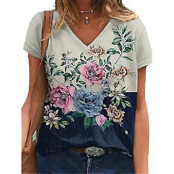 Mujer Print Blusa de Verano Manga Corta Camiseta Damas Plus Size V Cuello Tops Camiseta