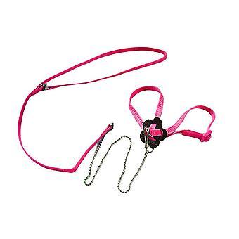 (Pink) Adjustable Pet Parrot Bird Outdoor Harness Leash Flying Training Anti Bite Rope