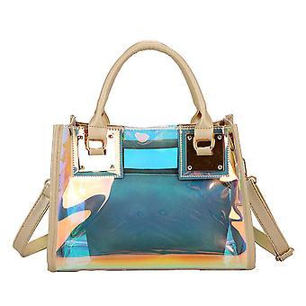 Bolsa de mano transparente impermeable de gran capacidad holográfica transparente bolsa de gelatina de pvc hembra