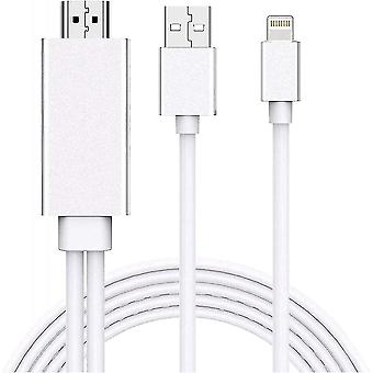 Lightning To Hdmi Adapter Cable, Compatible With Iphone Ipad To Hdmi Adapter Cable - 5.9ft, Silver