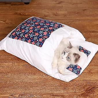 Geschlossen Abnehmbare und waschbare Katzenstreu Schlafsack Winter Warm Hunde Zwinger, Größe: S (Dunkelblau