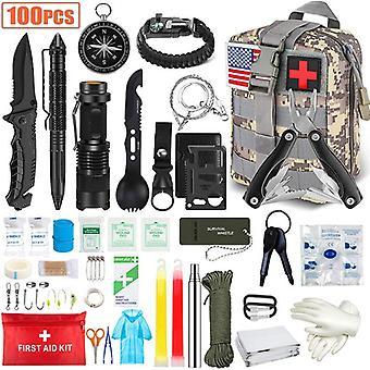 100PCS Emergency Survival Kit en EHBO Kit Professional Survival Gear Hunting Tool met Tactische Molle Pouch en Emergency