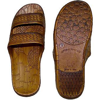 Braune Doppelriemen Jesus Style Hawaii Sandalen. Unisex Sandale für Männer Frauen und Teens