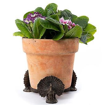 Potty Feet Decorative Peacock Themed Plant Pot Feet - Bronze Color - 3pc