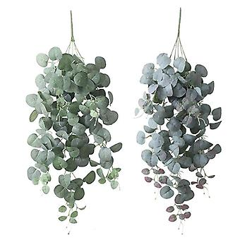 Wall hanging eucalyptus bouquet artificial leaves decoration greens rattan christmas party decor wedding supplies fake plant