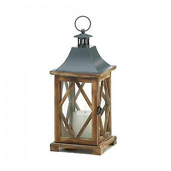 Gallery of Light Diamond-Side Wood Candle Lantern - 14 inches, Pack of 1