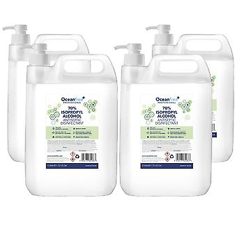 IPA Disinfectant Rubbing Isopropyl Alcohol Hand Sanitiser - 5L Litre with Pump x4 - Certified Surgical / Medical Grade - Made in the UK